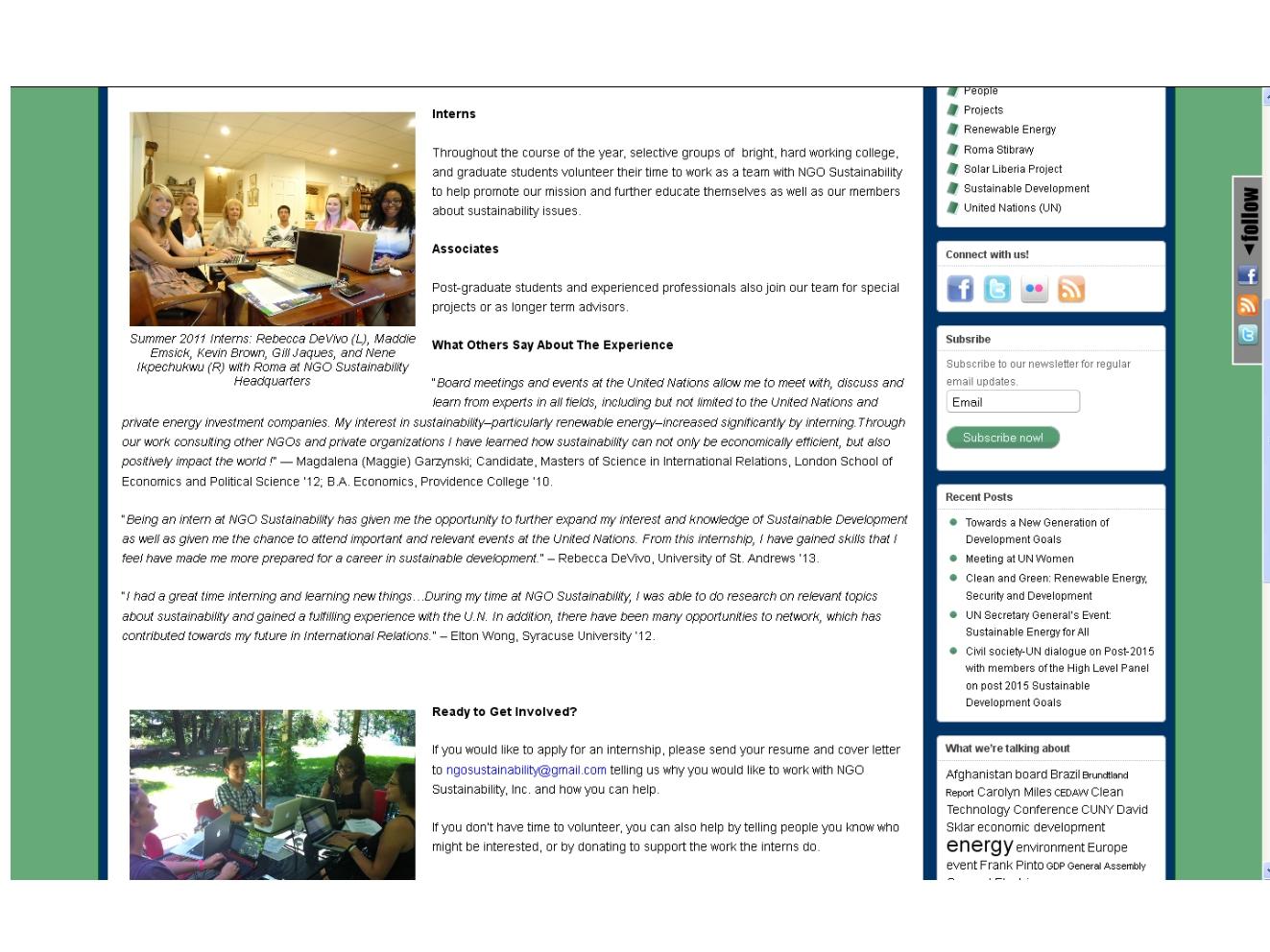 ngo sustainability website intern page