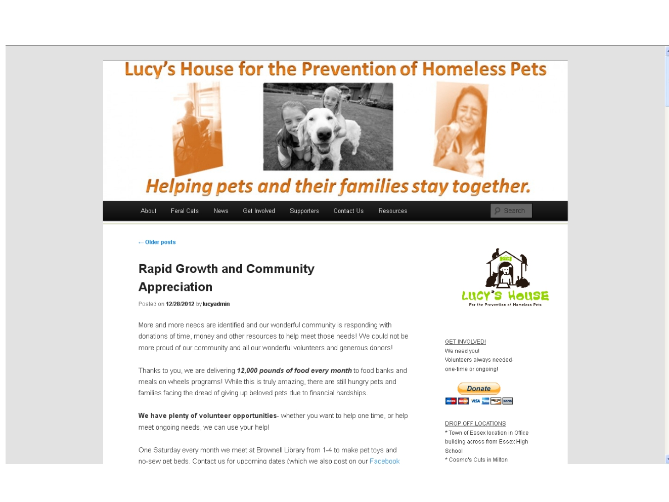 Screenshot of Lucys House website front page
