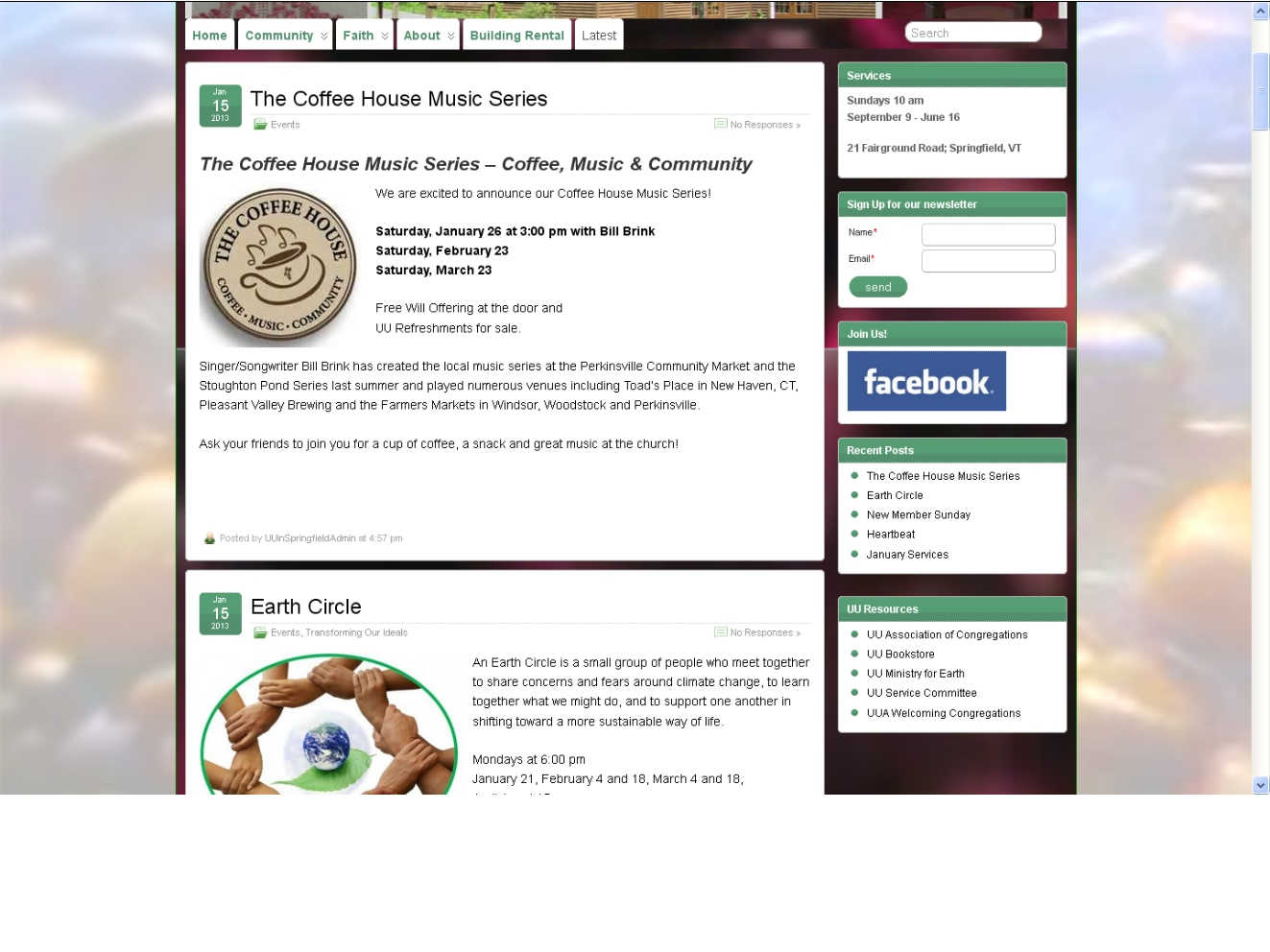 Church website news page