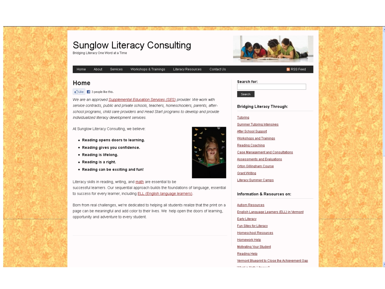 Sunglow Literacy Consulting Home Page March 2013