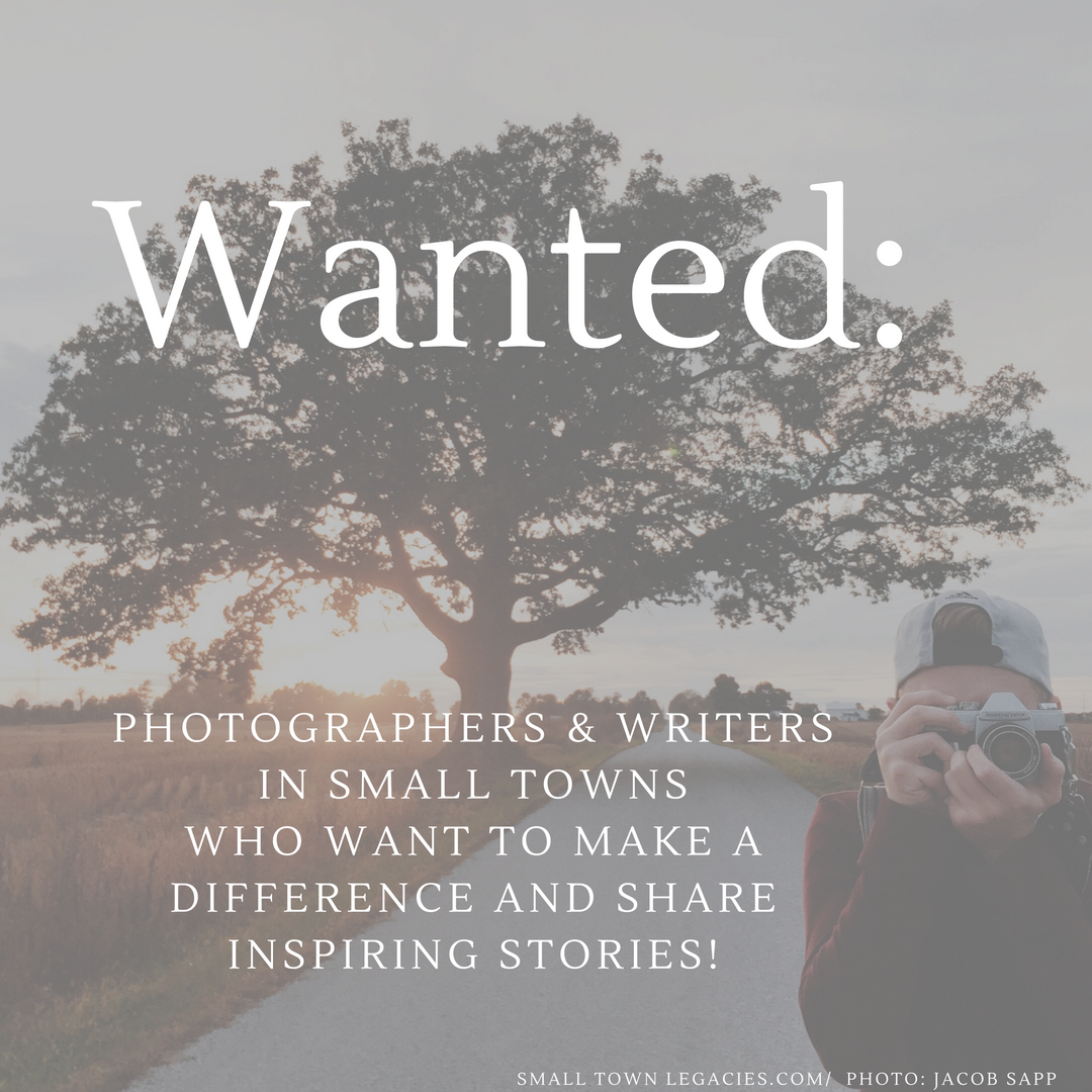 Wanted Photographers and Writers in Small Towns. Photo: Jacob Sapp